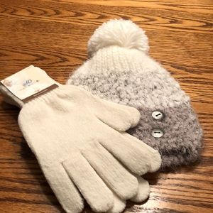 NWT SO gloves and hat. Cream and tan. OS